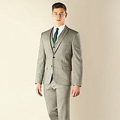Red Herring - Grey donegal look 2 button super slim fit suit jacket
