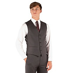 Red Herring - Charcoal plain weave 5 button slim fit suit waistcoat