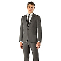 Ben Sherman - Grey plain weave 1 button skinny camden fit suit jacket