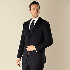 Jeff Banks - Dark navy herringbone 2 button regular fit suit jacket