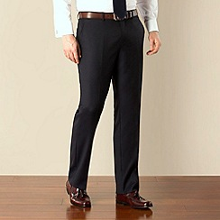 Jeff Banks - Dark navy herringbone plain front regular fit suit trouser