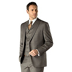 Jeff Banks - Grey pick and pick 2 button regular fit 3 piece suit
