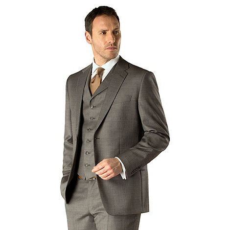 Jeff Banks - Grey pick and pick 2 button regular fit suit jacket