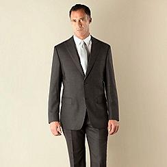 Jeff Banks - Charcoal flannel 2 button regular fit suit jacket