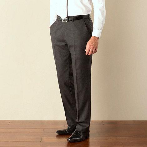 Jeff Banks - Charcoal flannel plain front regular fit suit trouser