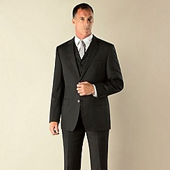 Jeff Banks - Charcoal stripe 2 button regular fit 3 piece suit