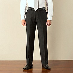 Jeff Banks - Charcoal stripe plain front regular fit suit trouser