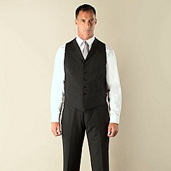 Jeff Banks - Charcoal stripe 6 button regular fit suit waistcoat