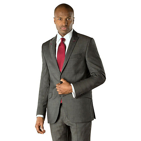 Stvdio by Jeff Banks - Charcoal pindot 2 button tailored fit suit jacket
