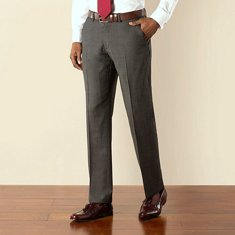 Stvdio by Jeff Banks - Charcoal pindot plain front tailored fit suit trouser