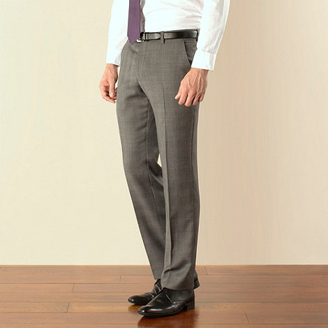 Stvdio by Jeff Banks - Grey check plain front tailored fit suit trouser