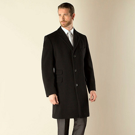 Karl Jackson - Black plain 3 button regular fit coat