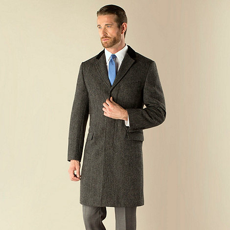 Stvdio by Jeff Banks - Grey herringbone 3 button tailored fit coat
