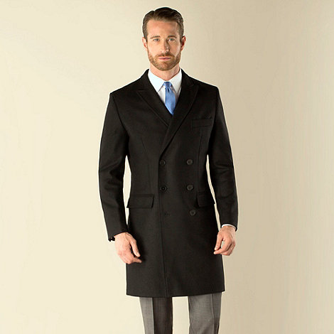 Stvdio by Jeff Banks - Black semi plain double breasted tailored fit coat