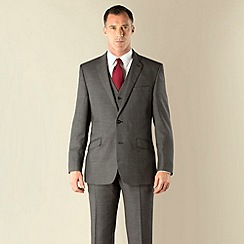 J by Jasper Conran - Grey birdseye tailored fit 2 button jacket