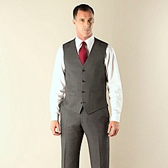 J by Jasper Conran - Grey birdseye tailored fit 4 button waistcoat