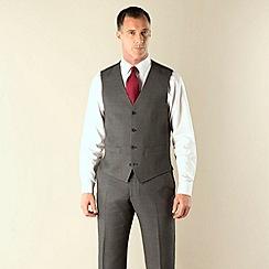 J by Jasper Conran - Grey birdseye tailored fit 4 button waistcoat