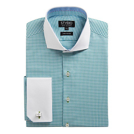 Stvdio by Jeff Banks - Green houndstooth shirt