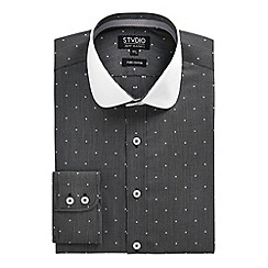 Stvdio by Jeff Banks - Black geo jacquard shirt