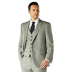 Racing Green - Light grey regular fit 1 button suit
