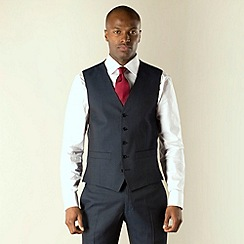 Racing Green - Navy plain tailored fit 5 button waistcoat