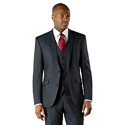 Racing Green - Blue plain tailored fit 2 button suit jacket