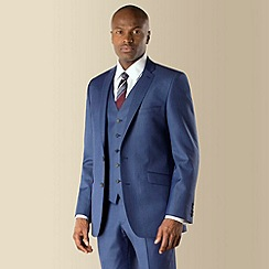 Racing Green - Bright blue sharkskin 2 button front tailored fit suit jacket