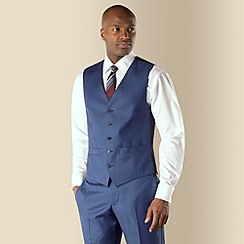 Racing Green - Bright blue sharkskin 5 button front tailored fit suit waistcoat
