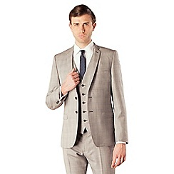 Ben Sherman - Grey blue overcheck 2 button skinny camden fit suit jacket