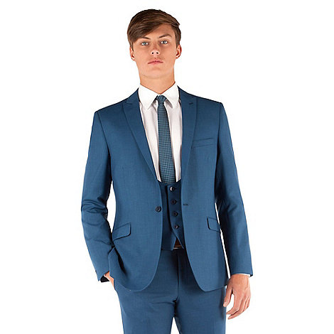 Red Herring - Bright blue semi plain 1 button slim fit jacket