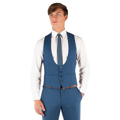 Red Herring - Bright blue semi plain 4 button scoop neck waistcoat