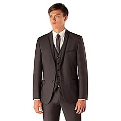 Red Herring - Charcoal semi plain 2 button slim fit 3 piece suit