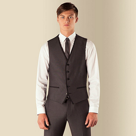 Red Herring - Charcoal semi plain 5 button waistcoat