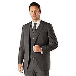 Jeff Banks - Grey stripe 2 button front regular fit 3 piece suit