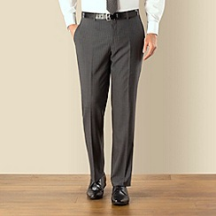 Jeff Banks - Grey stripe plain front regular fit suit trouser