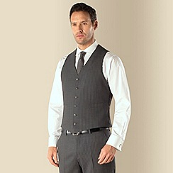 Jeff Banks - Grey stripe 6 button regular fit suit waistcoat