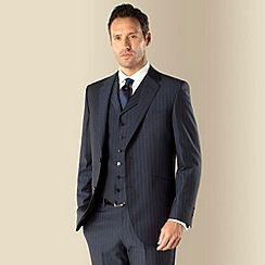 Jeff Banks - Blue wide stripe 2 button front regular fit suit jacket