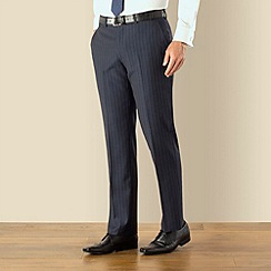 Jeff Banks - Blue wide stripe plain front regular fit suit trouser