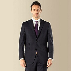 Jeff Banks - Navy with purple overcheck 2 button front regular fit suit jacket
