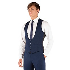 Red Herring - Blue plain 4 button scoop waistcoat