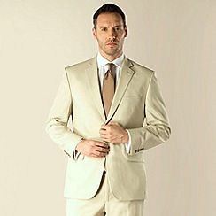 Racing Green - Stone linen cotton blend regular fit 2 button suit