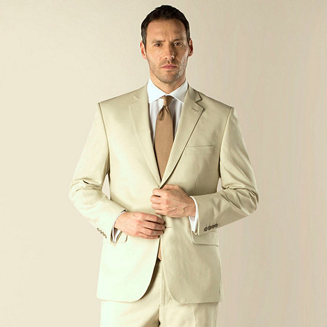 Racing Green - Stone linen cotton blend regular fit 2 button suit jacket
