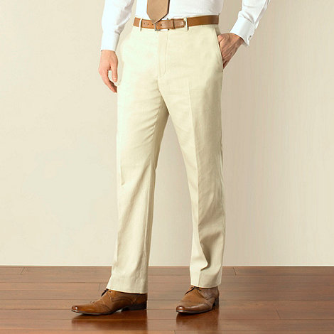 Racing Green - Stone linen cotton blend regular fit suit trouser