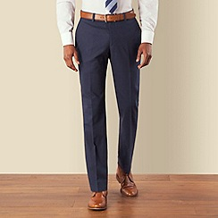 Racing Green - Blue linen cotton blend tailored fit suit trouser
