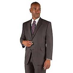 Centaur Big & Tall - Grey semi plain big and tall 2 button 3 piece suit