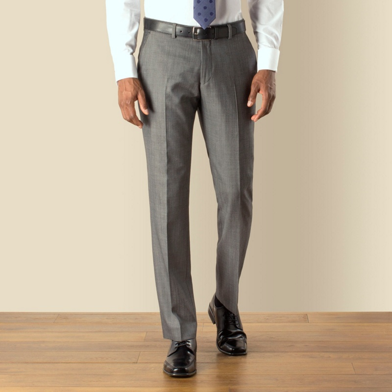 Stvdio by Jeff Banks Grey Twill Plain Front Tailored Fit