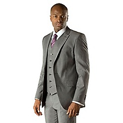 Stvdio by Jeff Banks - Grey with blue narrow stripe 2 button tailored fit 3 piece suit