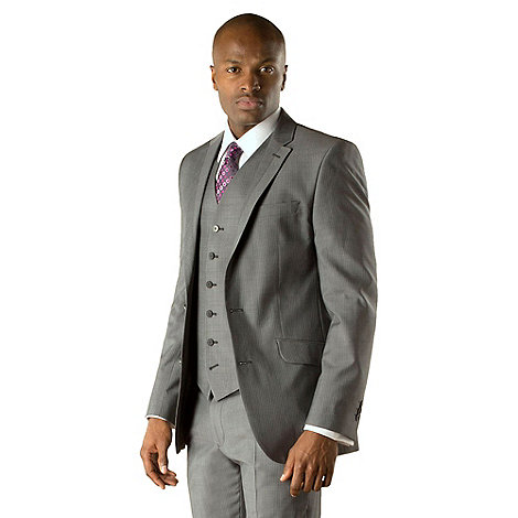 Stvdio by Jeff Banks - Grey with blue narrow stripe 2 button tailored fit suit jacket