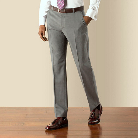 Stvdio by Jeff Banks - Grey with blue narrow stripe plain front tailored fit suit trouser