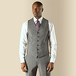 Stvdio by Jeff Banks - Grey blue narrow stripe 6 button tailored fit suit waistcoat